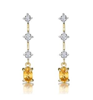 Yellow Sapphire 0.52CT And Diamond 9K Yellow Gold Earrings