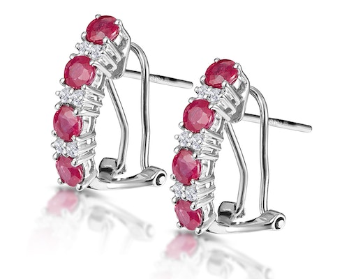 Round Cut Ruby Earrings