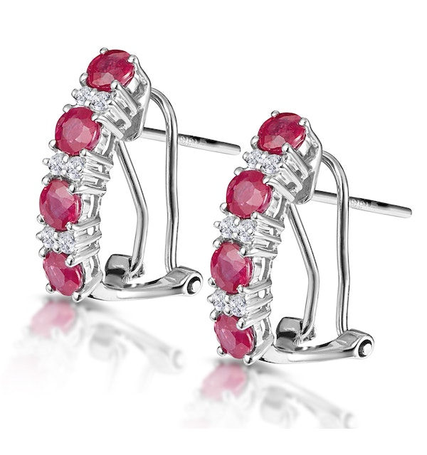 Ruby 1.30CT And Diamond 9K White Gold Earrings - image 1
