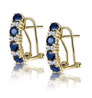 Sapphire 1.45CT And Diamond 9K Yellow Gold Earrings
