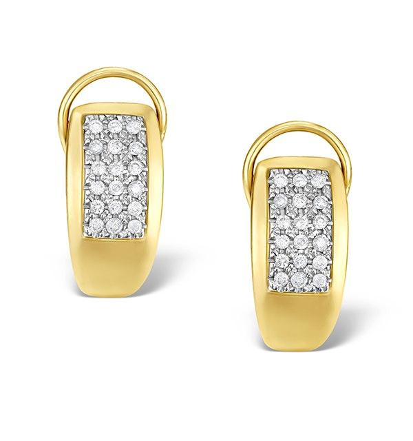 9K Gold Diamond Huggy Cluster Earrings - image 1