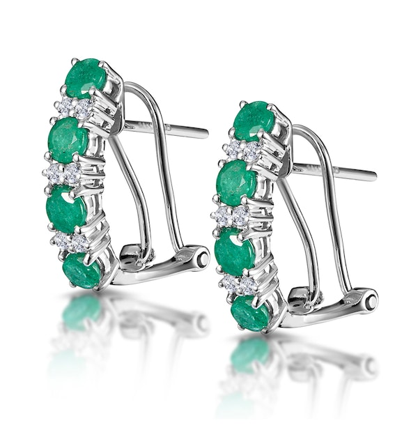 Emerald 1.10CT And Diamond 9K White Gold Earrings - image 1