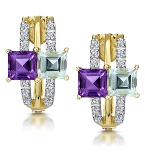 Princess Amethyst and Diamond Earrings in 9K Gold
