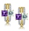 Princess Amethyst and Diamond Earrings in 9K Gold - image 1