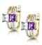 Princess Amethyst and Diamond Earrings in 9K Gold - image 2