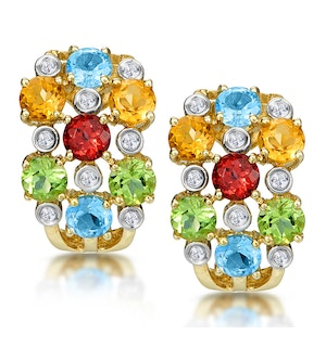 Multi Gem Diamond Studded Earrings in 9K Gold