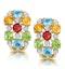 Multi Gem Diamond Studded Earrings in 9K Gold - image 1