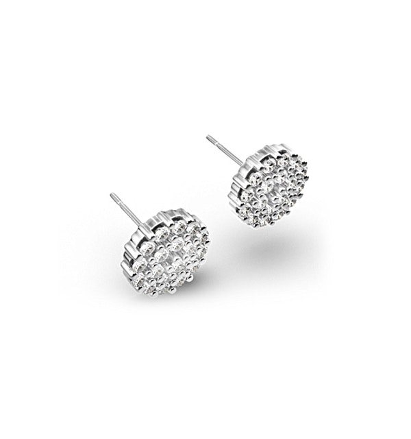 9K White Gold Diamond Cluster Earrings 0.50ct - image 1