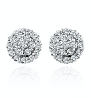 9K White Gold Diamond Cluster Earrings 0.50ct