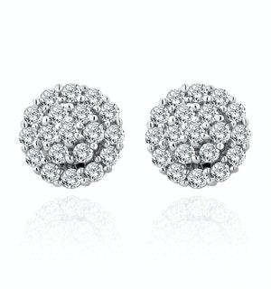 9K White Gold Diamond Cluster Earrings 0.50ct