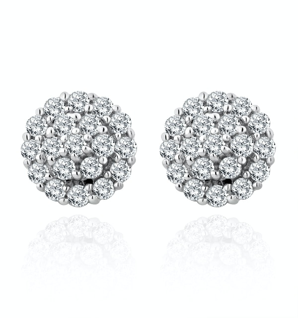 9K White Gold Diamond Cluster Earrings 0.50ct - image 1