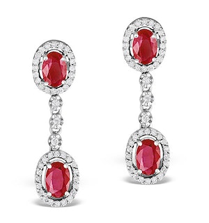 Ruby 0.55CT And Diamond 9K White Gold Earrings  H4483
