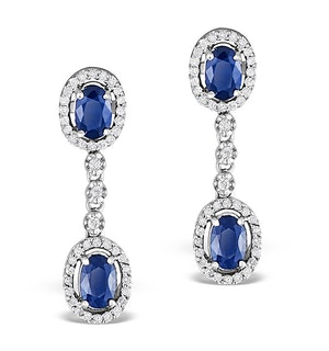 Sapphire 0.65CT And Diamond 9K White Gold Earrings