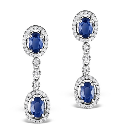 Sapphire 0.65CT And Diamond 9K White Gold Earrings - image 1