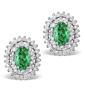 Emerald 4 x 6mm And Diamond 9K White Gold Earrings