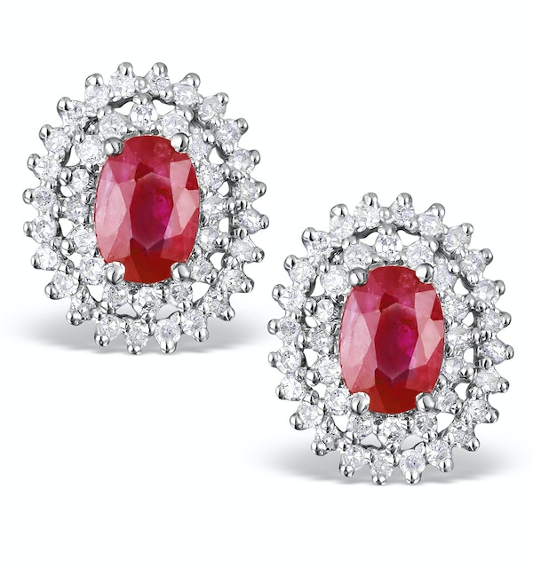 Ruby 0.55CT And Diamond 9K White Gold Earrings - image 1