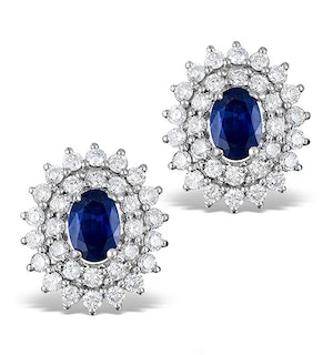 Sapphire 7mm x 5mm And Diamond 9K White Gold Earrings  H4488