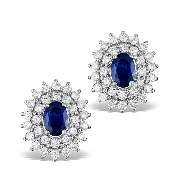 Sapphire 7mm x 5mm And Diamond 9K White Gold Earrings  H4488 - image 1