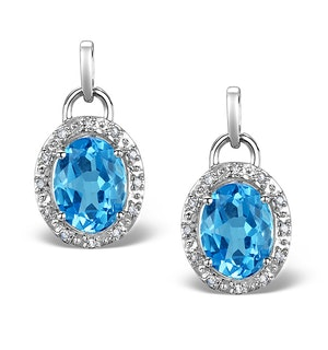 Blue Topaz 4.58CT And Diamond 9K White Gold Earrings