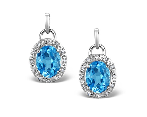 White Gold Blue Topaz Earrings