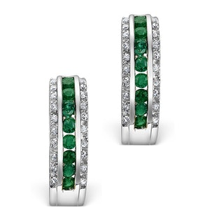Emerald 0.58CT And Diamond 9K White Gold Earrings