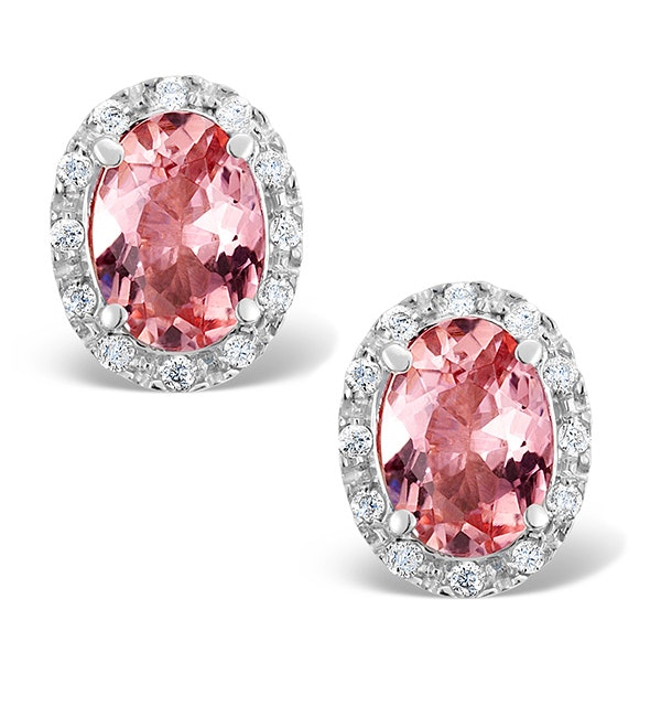 Pink Tourmaline 8 x 10mm And Diamond 9K White Gold Earrings - image 1