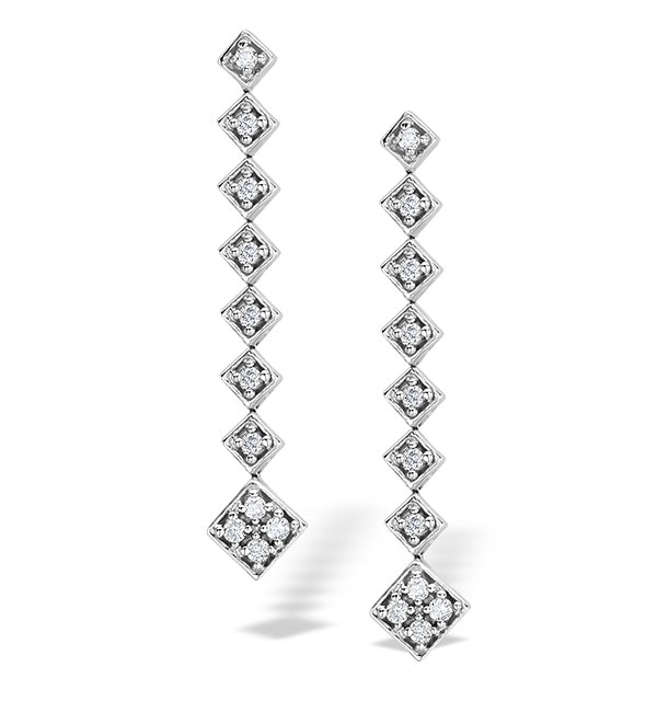 0.50ct Diamond and 9K White Gold Earrings - H4520 - image 1