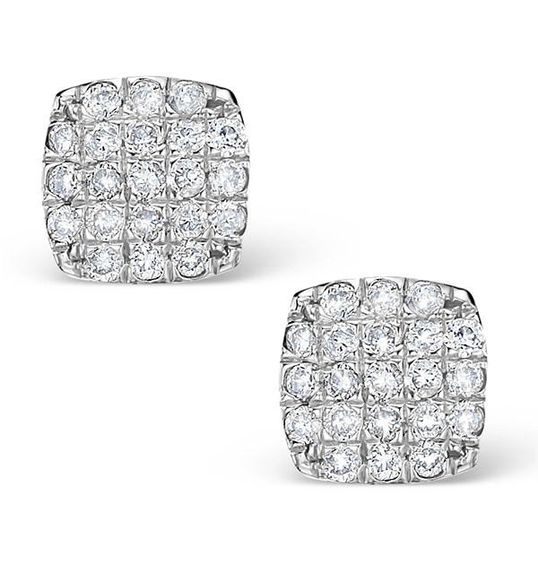 0.44ct Diamond and 9K White Gold Daisy Earrings - H4538 - image 1