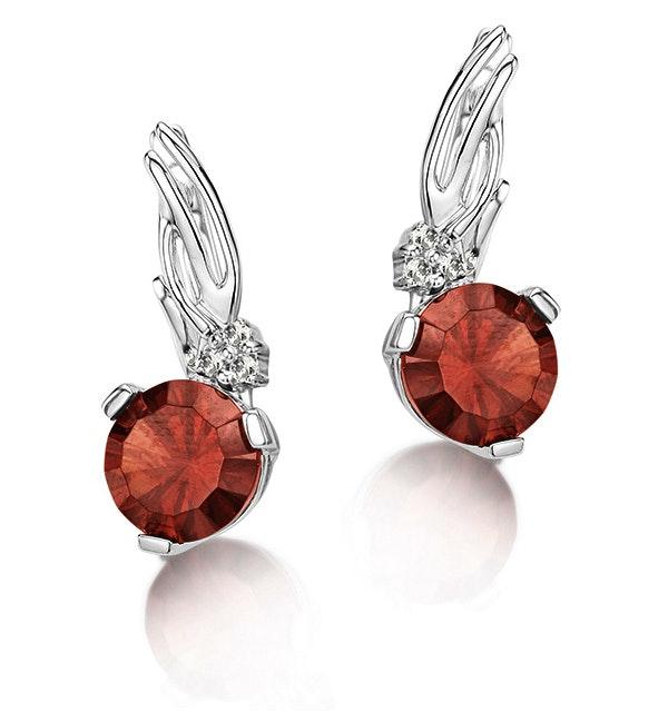 3.07ct Garnet 0.05ct Diamond and 9K White Gold Earrings - H4548 - image 1