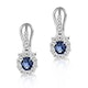 0.83ct Sapphire 0.13ct Diamond and 9K White Gold Earrings -  H4555 - image 1