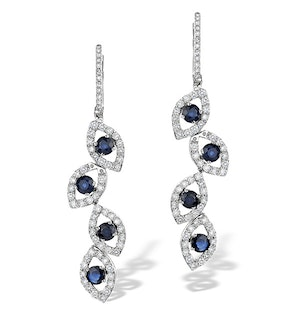 1.96ct Sapphire 1.49ct Diamond and 9K White Gold Drop Earrings - H4556