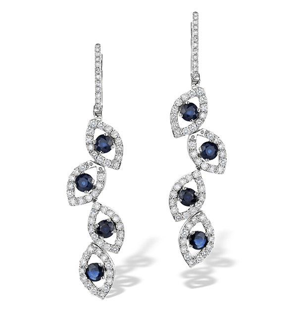 1.96ct Sapphire 1.49ct Diamond and 9K White Gold Drop Earrings - H4556 - image 1