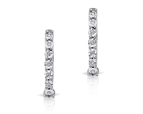 Round Cut Diamond Hoop Earrings
