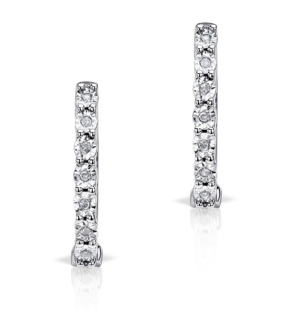 0.06ct Diamond and 9K White Gold Earrings - H4557 - image 1