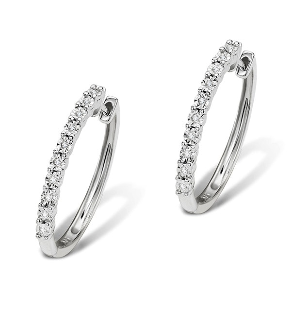 0.08ct Diamond and 9K White Gold Earrings - H4558 - image 1