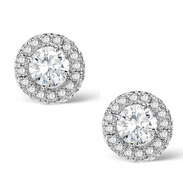 Halo Diamond Earrings - Ella - 0.55ct 9K White Gold - H4565 - image 1