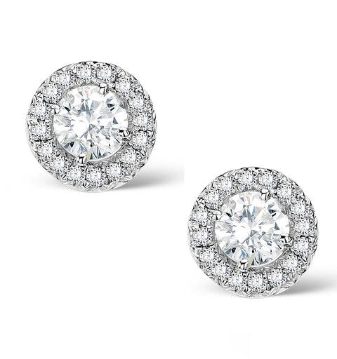 Halo Diamond Earrings - Ella - 0.55ct 9K White Gold - H4565 - image 1