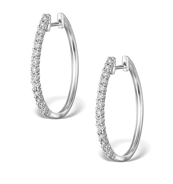 Hoop Earrings Diamond and 9K White Gold H4568 - image 1