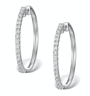 Hoop Earrings 30mm Diamond and 9K White Gold H4569