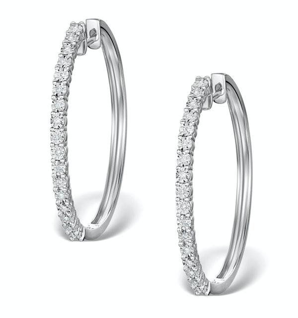 Hoop Earrings 30mm Diamond and 9K White Gold H4569 - image 1