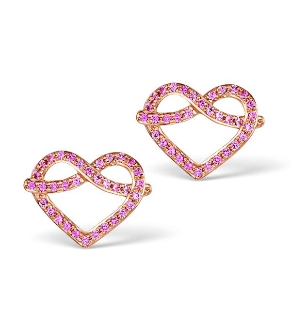 Vivara Collection Pink Sapphire 9K Rose Gold Heart Earrings H4575 - image 1