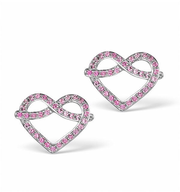 Vivara Collection Pink Sapphire 9K White Gold Heart Earrings H4575Y - image 1