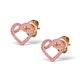 Vivara Collection Pink Sapphire 9K Rose Gold Heart Earrings H4575 - image 2