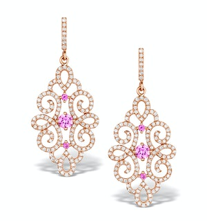 Vivara Collection Pink Sapphire and Diamond 9K Gold Earrings H4576