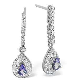 Tanzanite 0.28CT And Diamond 9K White Gold Earrings