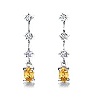 Yellow Sapphire 0.52CT And Diamond 9K White Gold Earrings