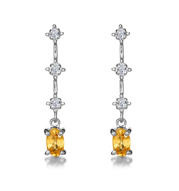 Yellow Sapphire 0.52CT And Diamond 9K White Gold Earrings - image 1