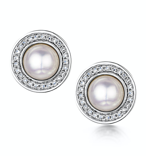 5.5mm Pearl and Diamond Stellato Earrings 0.14ct in 9K White Gold - image 1
