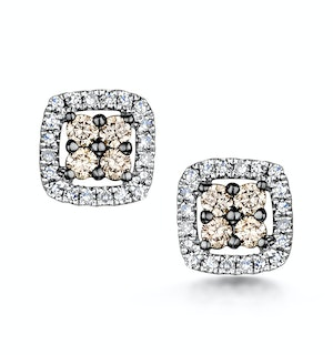Stellato Champagne Diamond Halo Earrings 0.24ct in 9K White Gold