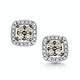 Stellato Champagne Diamond Halo Earrings 0.24ct in 9K White Gold - image 1